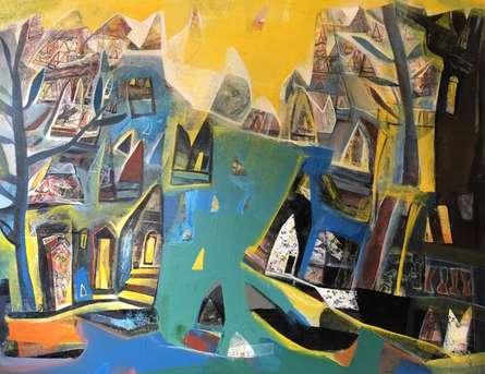 Tapas Ghosal Paintings | Acrylic Painting - Varanasi 4 by artist Tapas Ghosal | ArtZolo.com