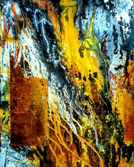 Abstract Acrylic Art Painting title Battle Field by artist Kartikey Sharma