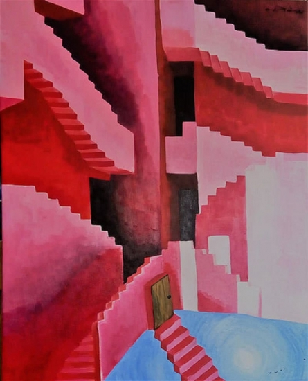 Abstract Acrylic Art Painting title Secret Door by artist Kartikey Sharma