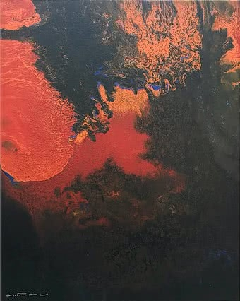 Abstract Acrylic Art Painting title 'Untitled 9' by artist Kartikey Sharma