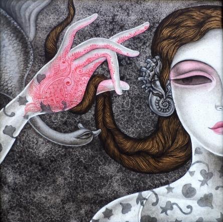 Figurative Acrylic Art Painting title Abhisarika 33 by artist Vishal Sabley