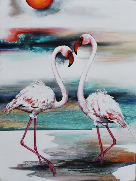 Animals Acrylic Art Painting title 'Flamingo 3' by artist Vishwajeet Naik
