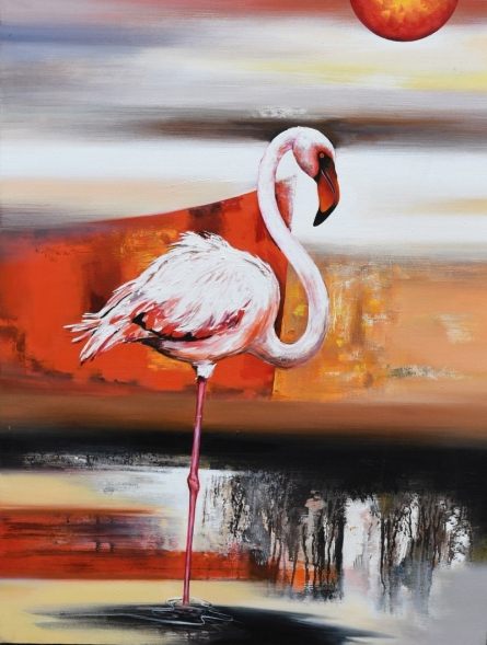 Animals Acrylic Art Painting title Flamingo 4 by artist Vishwajeet Naik