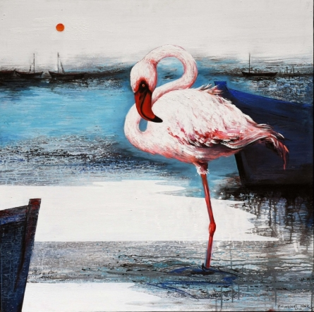 Flamingo 8 | Painting by artist Vishwajeet Naik | acrylic | Canvas