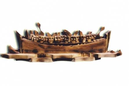 Offspring Seeking Refuge | Sculpture by artist Indira Ghosh | Wood