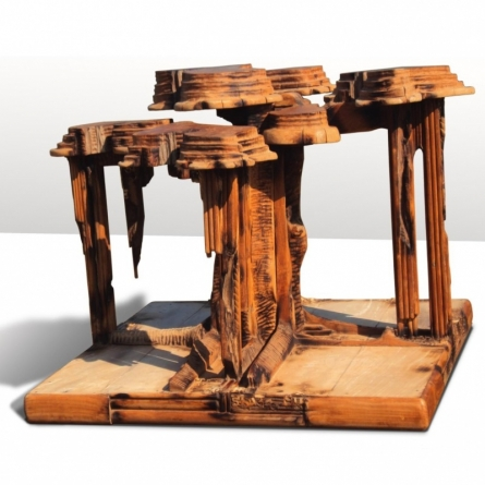 Wood Sculpture titled 'Embrace' by artist Indira Ghosh