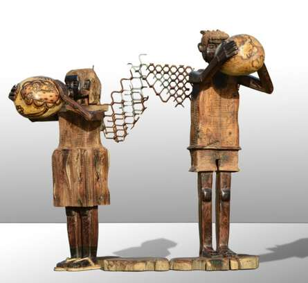 wood and metal scrap Sculpture titled 'Fantasy 1' by artist Indira Ghosh