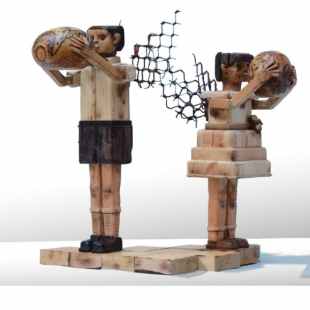 wood and metal scrap Sculpture titled 'Fantasy 2' by artist Indira Ghosh