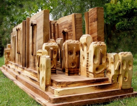 Fenced In | Sculpture by artist Indira Ghosh | Wood