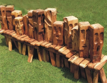 Indira Ghosh | Queue Sculpture by artist Indira Ghosh on Wood | ArtZolo.com
