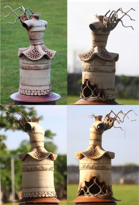 Stoneware and metal Sculpture titled 'Sculpture' by artist Indira Ghosh
