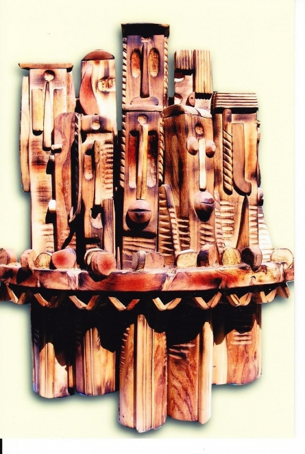 Wood Sculpture titled 'Untitled 3' by artist Indira Ghosh