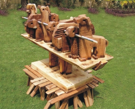 Wood and Metal Scrap Sculpture titled 'Untitled 4' by artist Indira Ghosh