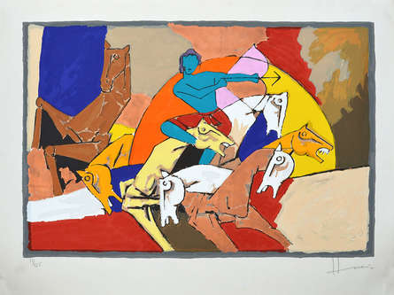 Religious Serigraphs Art Painting title 'Arjun' by artist M. F. Husain