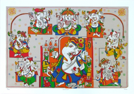 Religious Serigraphs Art Painting title 'Ashtavinayak' by artist Jagdeep Smart