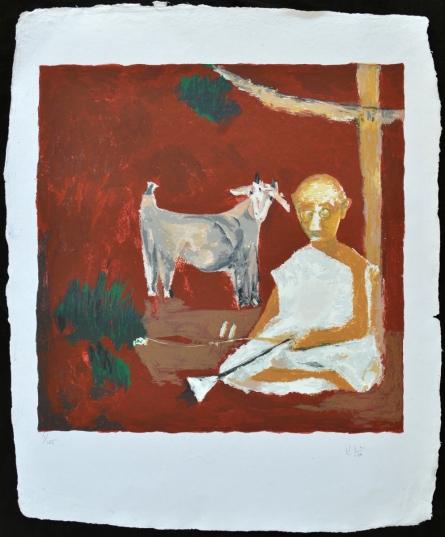 Figurative Serigraphs Art Painting title 'Bakri' by artist Haku Shah
