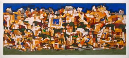 Cityscape Serigraphs Art Painting title 'Banaras' by artist Jagdeep Smart