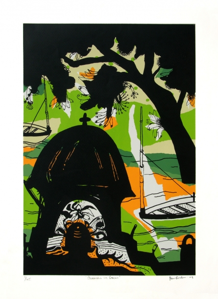 Cityscape Serigraphs Art Painting title 'Banaras In Green' by artist Manu Parekh