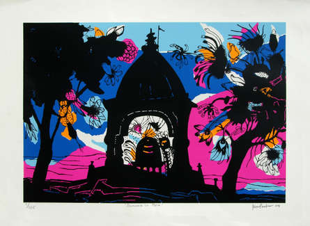 Cityscape Serigraphs Art Painting title 'Banaras In Pink' by artist Manu Parekh