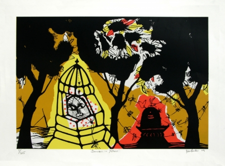 Cityscape Serigraphs Art Painting title 'Banaras In Yellow' by artist Manu Parekh