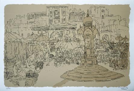 Cityscape Serigraphs Art Painting title 'Bhadra Fort' by artist Vrindavan Solanki