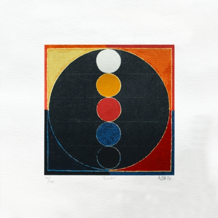 Abstract Serigraphs Art Painting title 'Bindu 1' by artist S. H. Raza