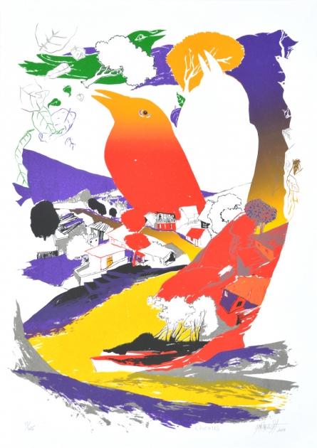 Landscape Serigraphs Art Painting title 'Chorus' by artist Nabibakhsh Mansoori
