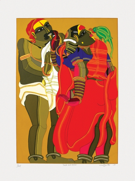 Figurative Serigraphs Art Painting title 'Couple With Parrot' by artist Thota Vaikuntam