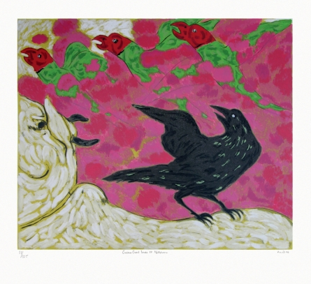 contemporary Serigraphs Art Painting title 'Cuckoo Crow At Nathdwara' by artist Amit Ambalal