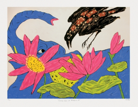 contemporary Serigraphs Art Painting title 'Cuckoo Crow At Nathdwara 2' by artist Amit Ambalal
