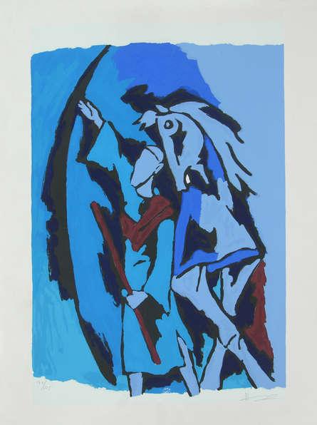 Figurative Serigraphs Art Painting title 'Dada Abdul' by artist M. F. Husain