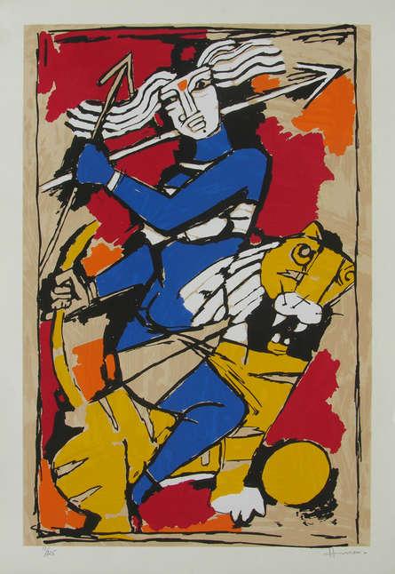 Religious Serigraphs Art Painting title 'Durga' by artist M. F. Husain