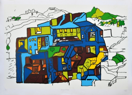 Cityscape Serigraphs Art Painting title 'Encounters 2' by artist B. V. Doshi