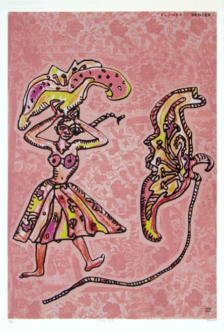 contemporary Serigraphs Art Painting title 'Flower Dancer' by artist Jogen Chowdhury