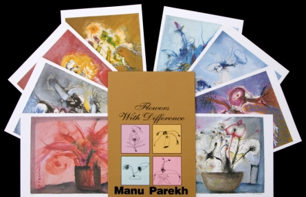 Nature Serigraphs Art Painting title 'Flowers With Difference' by artist Manu Parekh