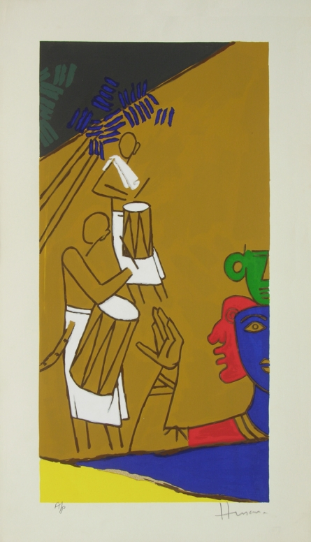 Figurative Serigraphs Art Painting title 'Folklore Kerala 10' by artist M. F. Husain