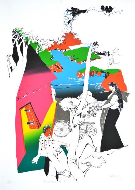 Figurative Serigraphs Art Painting title 'Fondness' by artist Nabibakhsh Mansoori