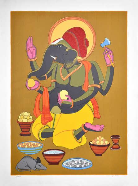 Religious Serigraphs Art Painting title 'Ganesh 2' by artist Thota Vaikuntam
