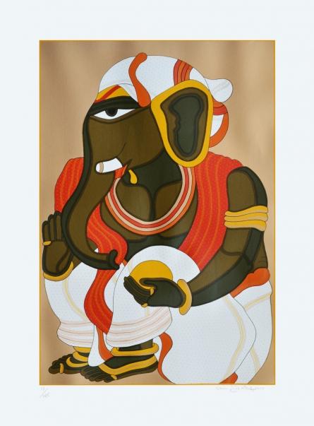 Religious Serigraphs Art Painting title 'Ganesha' by artist Thota Vaikuntam