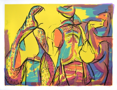 Figurative Serigraphs Art Painting title 'Goatherders' by artist Vrindavan Solanki
