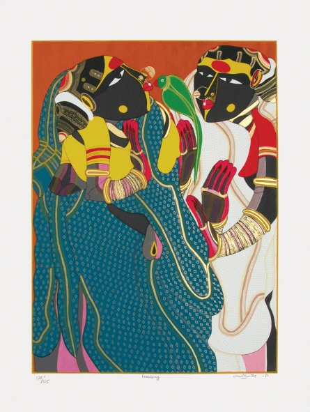 Figurative Serigraphs Art Painting title 'Gossiping' by artist Thota Vaikuntam