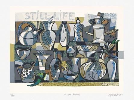 Still-life Serigraphs Art Painting title 'Hidden Sword' by artist Jyoti Bhatt