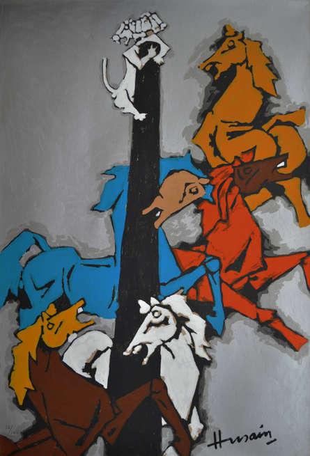 Animals Serigraphs Art Painting title Horse by artist M. F. Husain