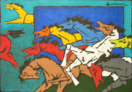 Animals Serigraphs Art Painting title 'Horse 3' by artist M. F. Husain