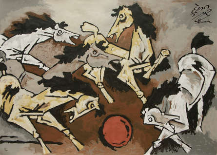 Animals Serigraphs Art Painting title 'Horse 4' by artist M. F. Husain