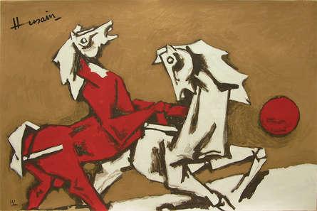 Animals Serigraphs Art Painting title 'Horses' by artist M. F. Husain