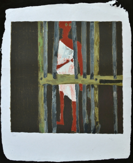 Figurative Serigraphs Art Painting title 'Jail' by artist Haku Shah
