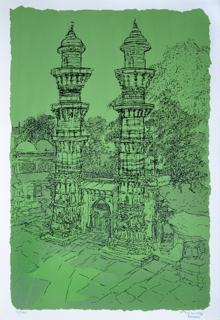 Cityscape Serigraphs Art Painting title 'Jhulta Minaras' by artist Vrindavan Solanki
