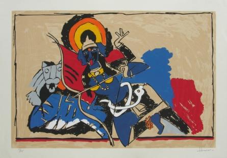 Religious Serigraphs Art Painting title 'Kali' by artist M. F. Husain