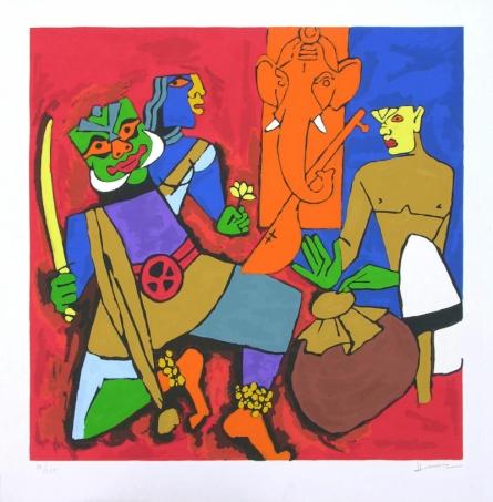 Figurative Serigraphs Art Painting title 'Kerala 1' by artist M. F. Husain